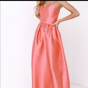 Lulu's long gown for prom,wedding coral maxi dress